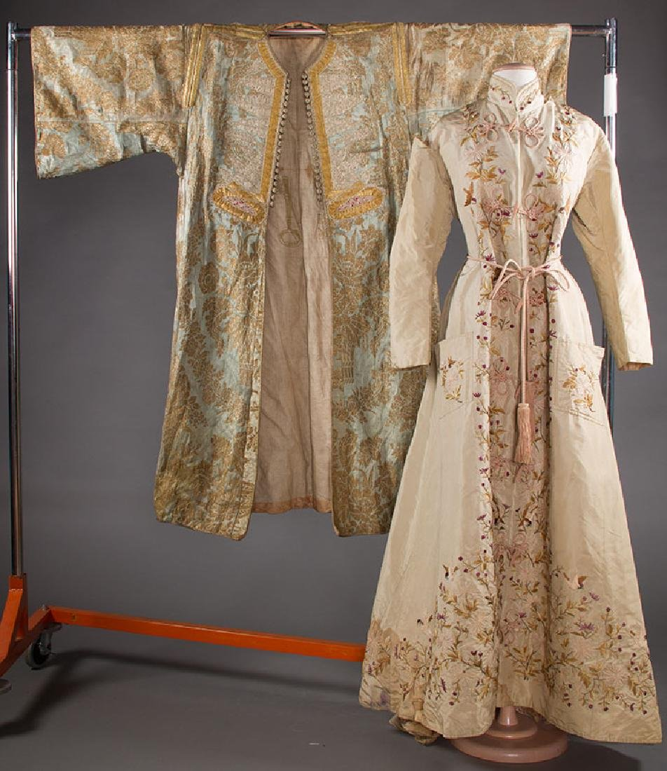 1 EMBROIDERED & 1 LAME BROCADE ROBE, 19TH C.