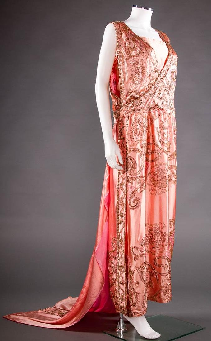BEADED & EMBROIDERED PINK EVENING GOWN, c. 1918