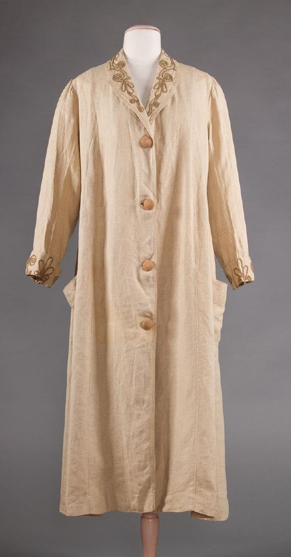 LADY'S EDWARDIAN LINEN DUSTER, c. 1905