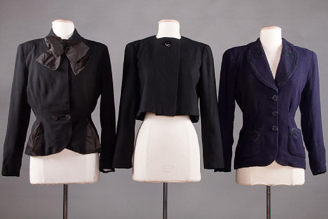 3 LADIES' WOOL JACKETS, 1940-1950