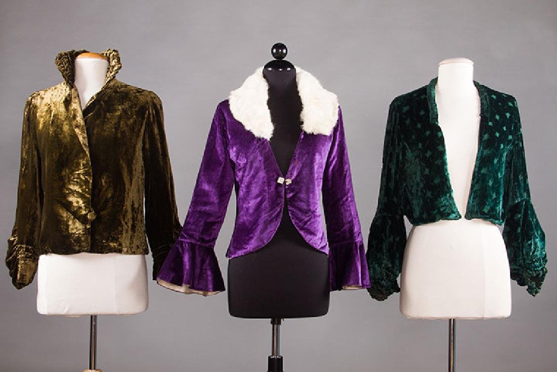 3 SILK VELVET EVENING JACKETS, 1930s