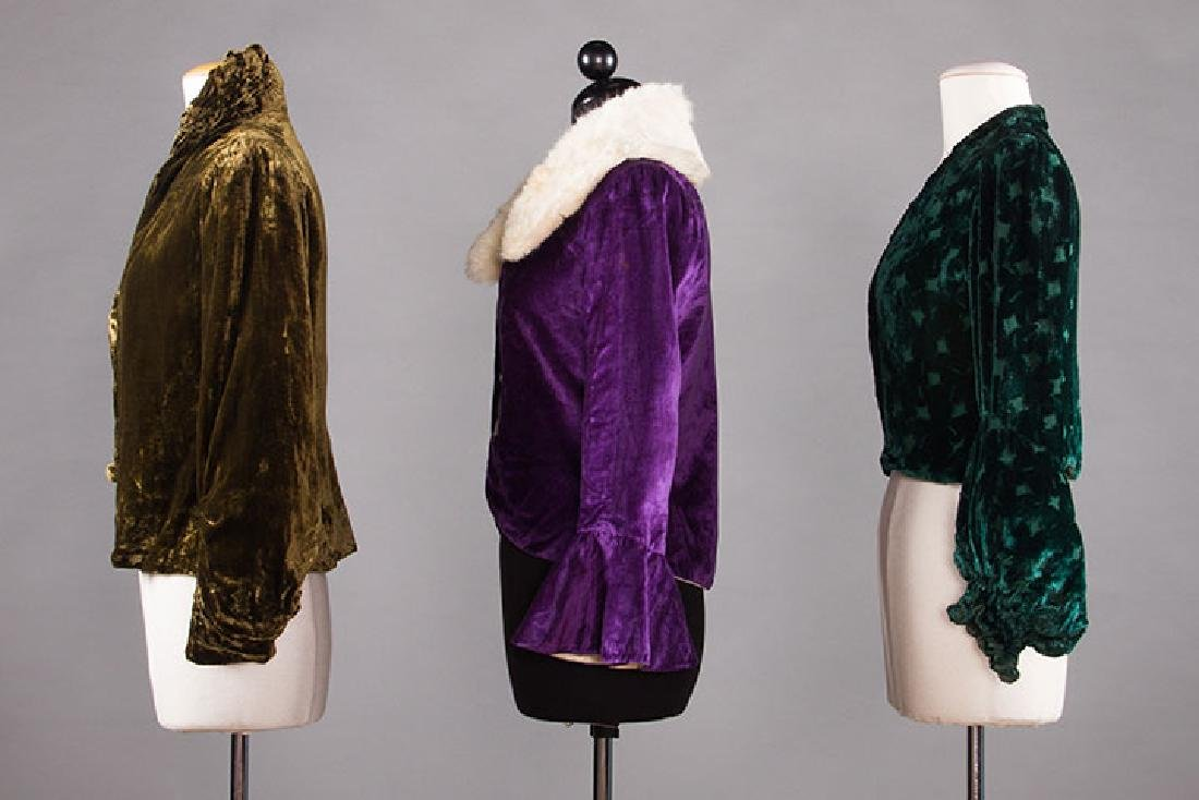 3 SILK VELVET EVENING JACKETS, 1930s - 2