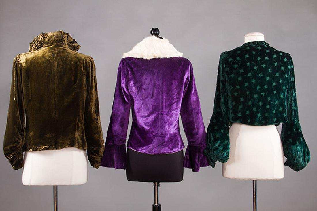 3 SILK VELVET EVENING JACKETS, 1930s - 3