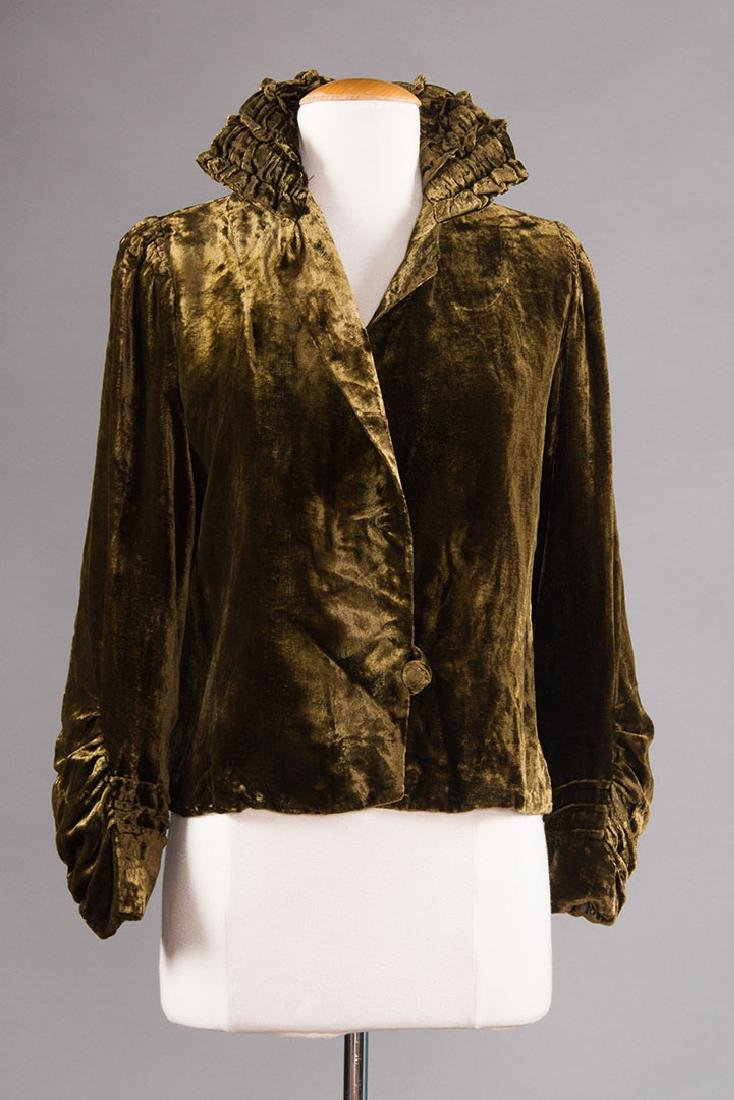 3 SILK VELVET EVENING JACKETS, 1930s - 4