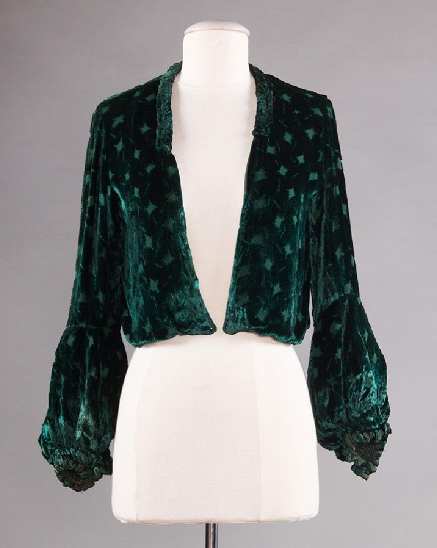 3 SILK VELVET EVENING JACKETS, 1930s - 8
