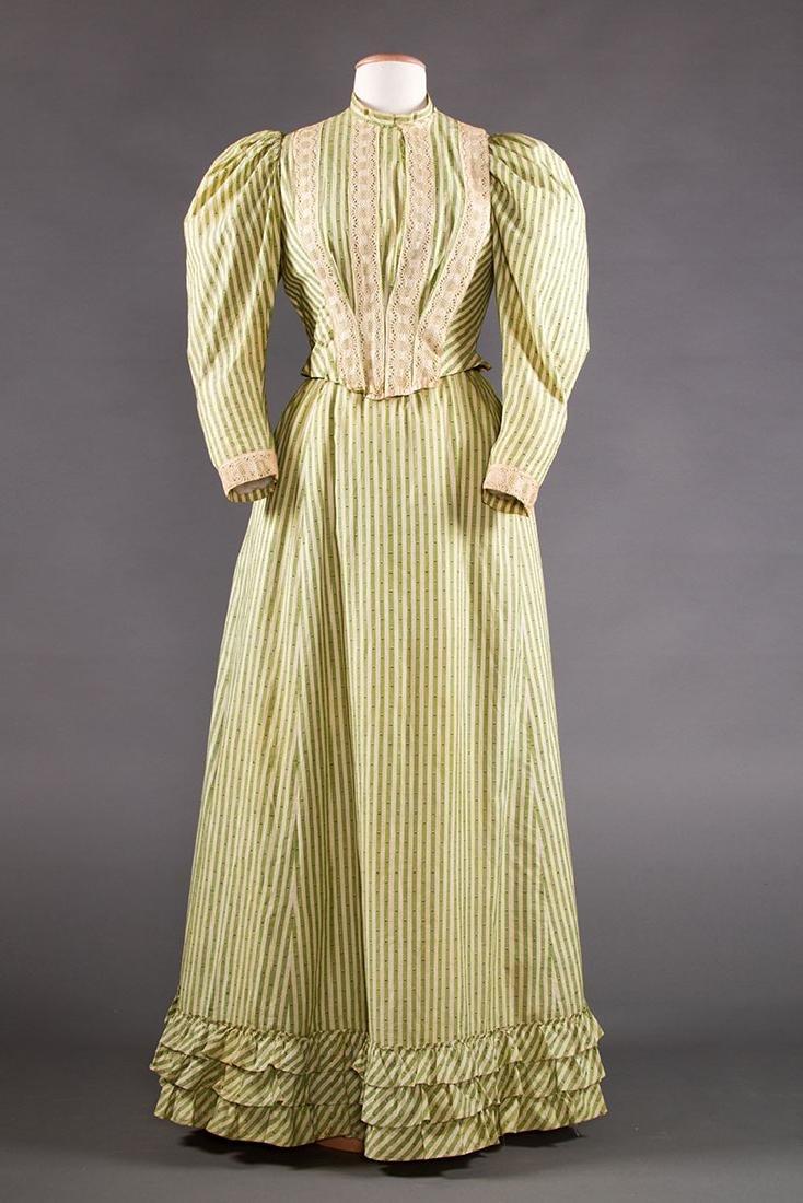 GREEN STRIPED DAY DRESS, c. 1895