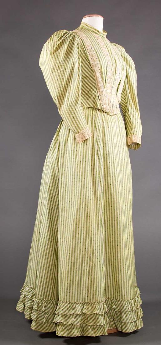 GREEN STRIPED DAY DRESS, c. 1895 - 2