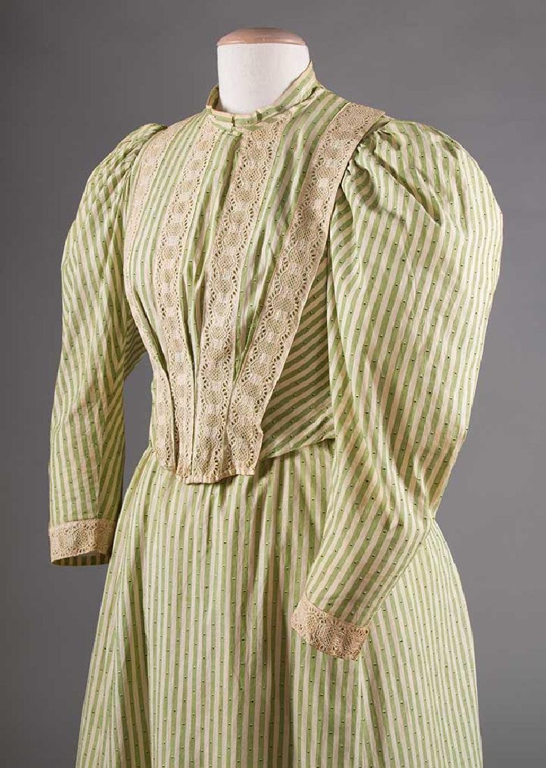 GREEN STRIPED DAY DRESS, c. 1895 - 5