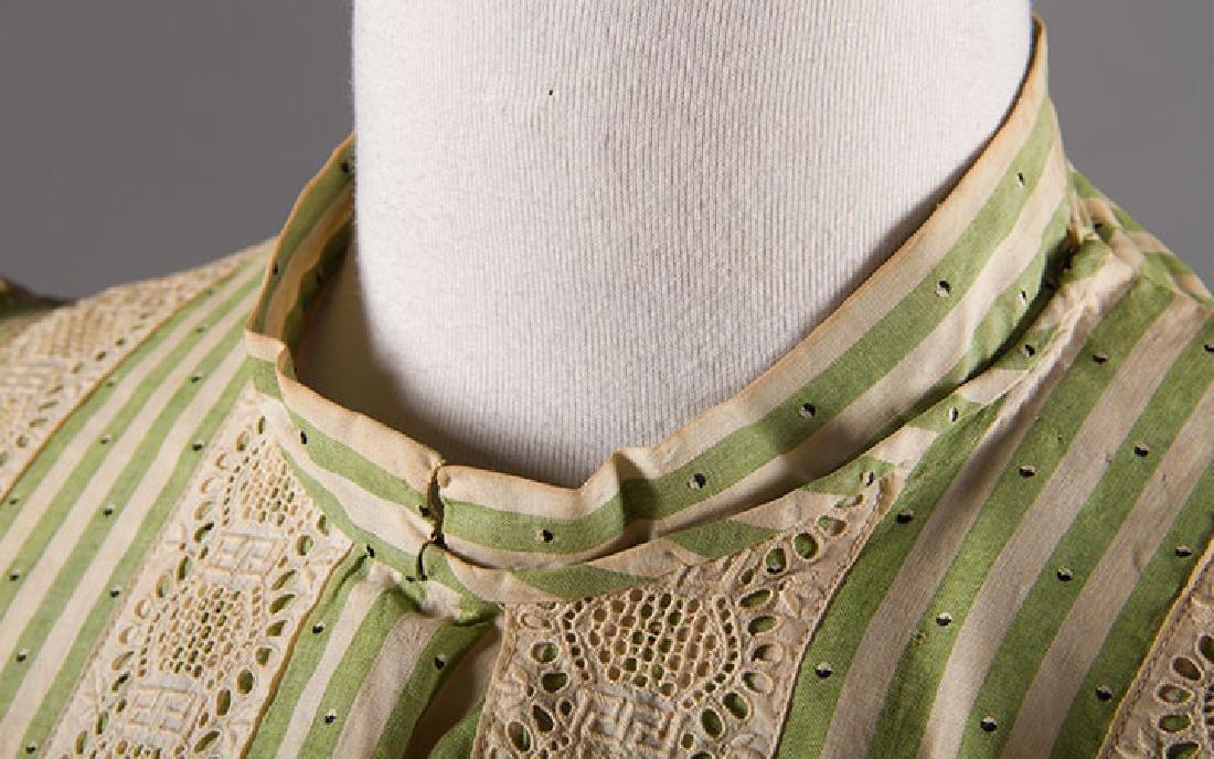 GREEN STRIPED DAY DRESS, c. 1895 - 6