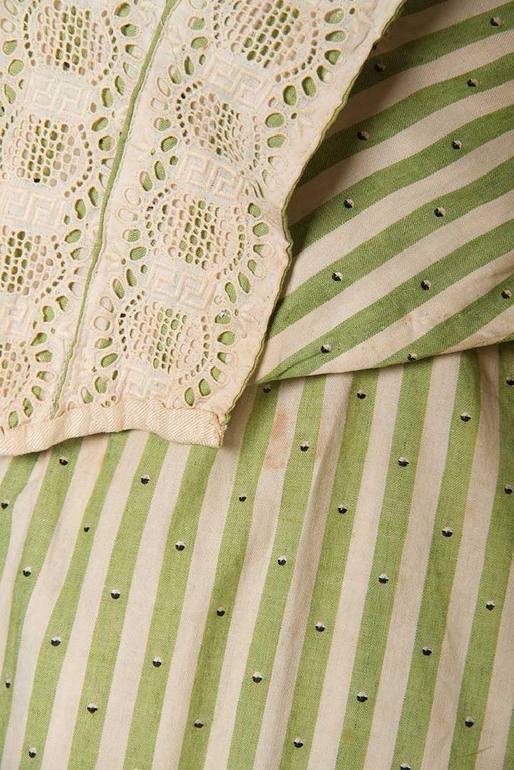 GREEN STRIPED DAY DRESS, c. 1895 - 8
