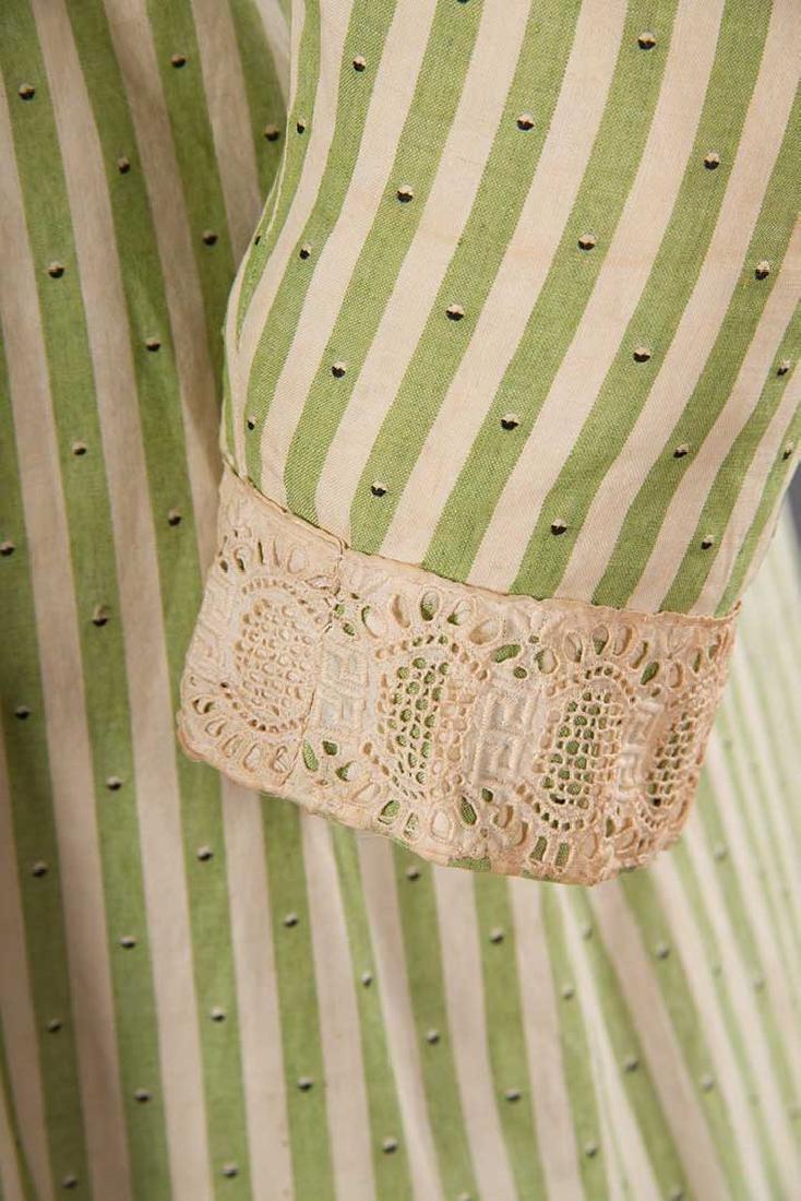 GREEN STRIPED DAY DRESS, c. 1895 - 9