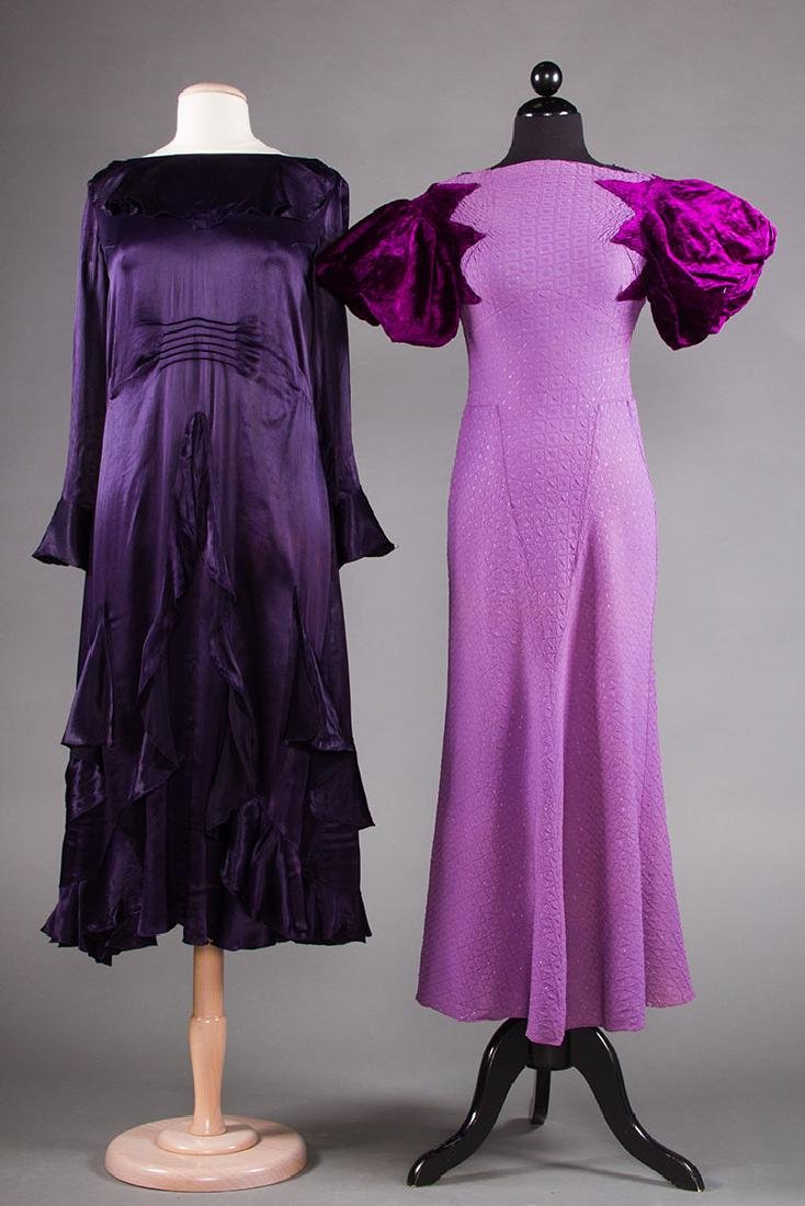 1 PURPLE & 1 BLACK EVENING GOWN, 1930s