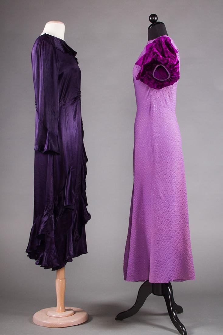 1 PURPLE & 1 BLACK EVENING GOWN, 1930s - 2