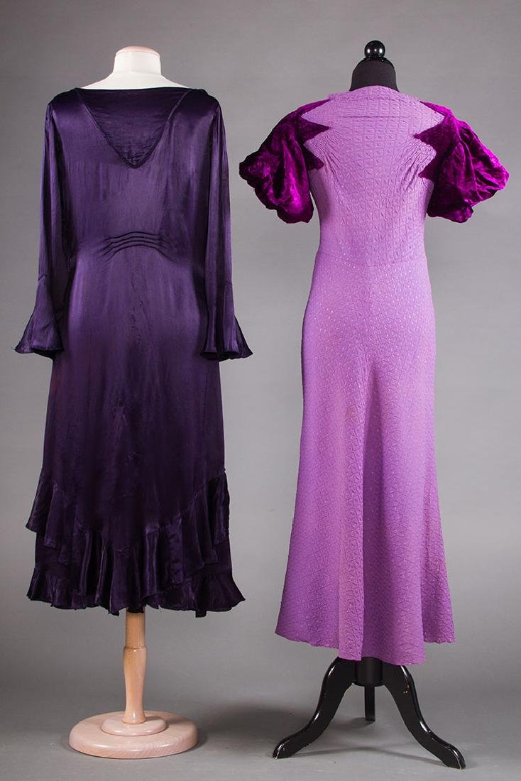 1 PURPLE & 1 BLACK EVENING GOWN, 1930s - 3