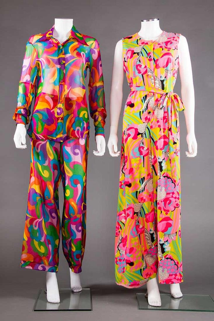 2 MOD PRINTED PANT OUTFITS, 1960s