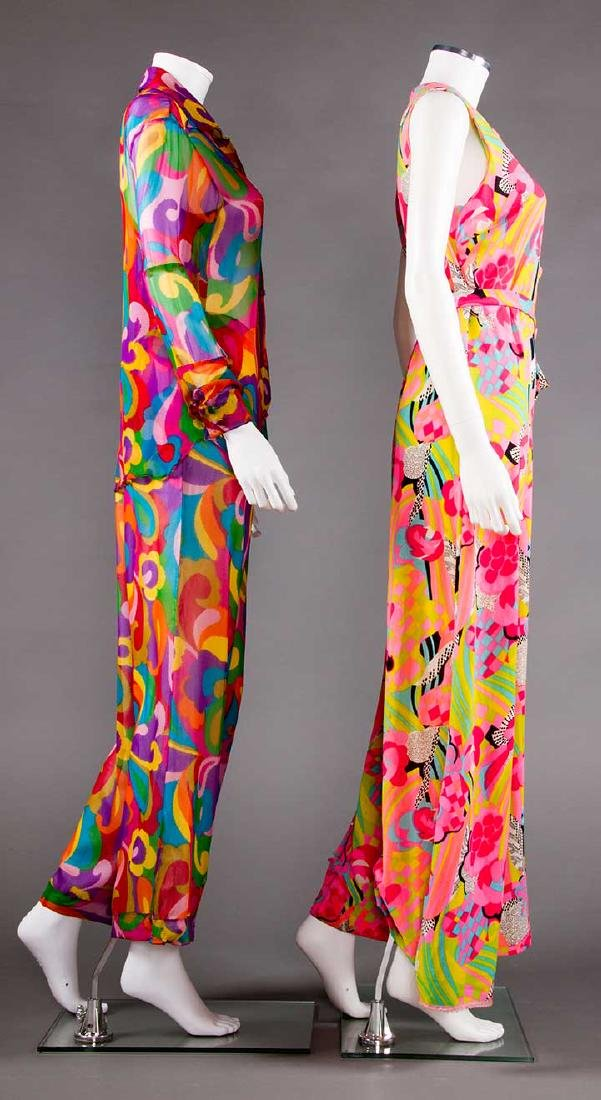 2 MOD PRINTED PANT OUTFITS, 1960s - 2