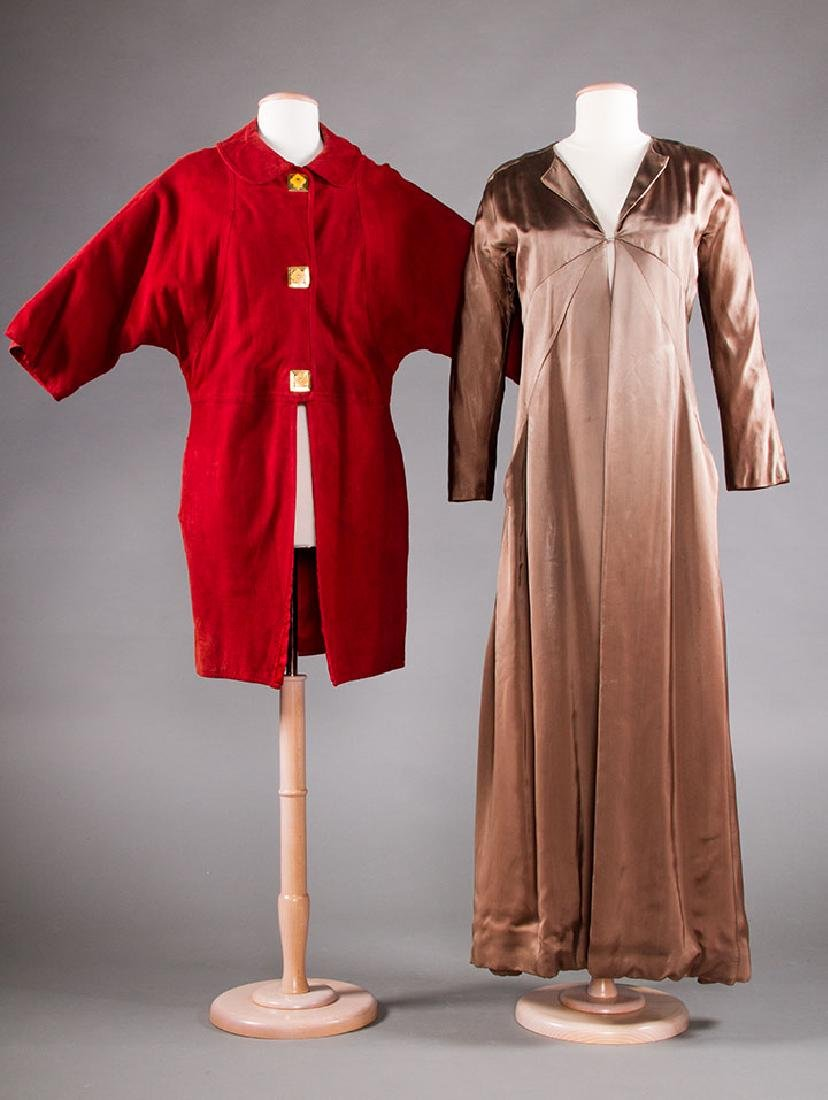 1 SUEDE DAY & 1 SILK EVENING COAT, 1930-1940s