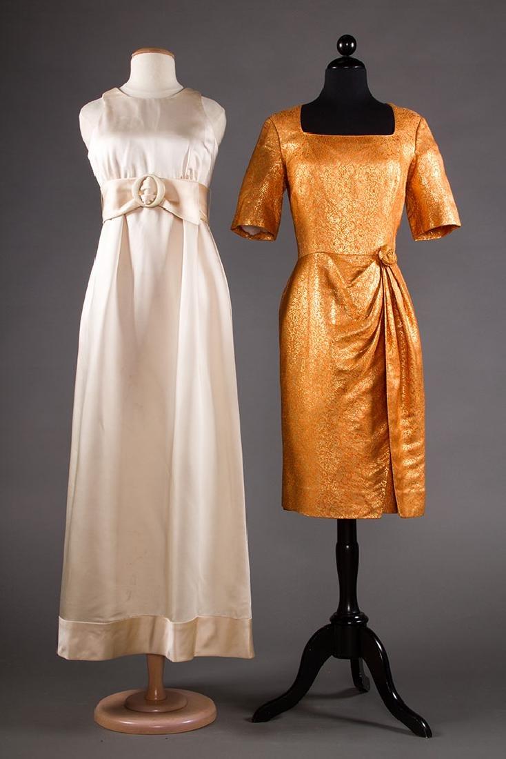 1 LADY'S SILK GOWN & 1 SILK COCKTAIL DRESS, 1960s
