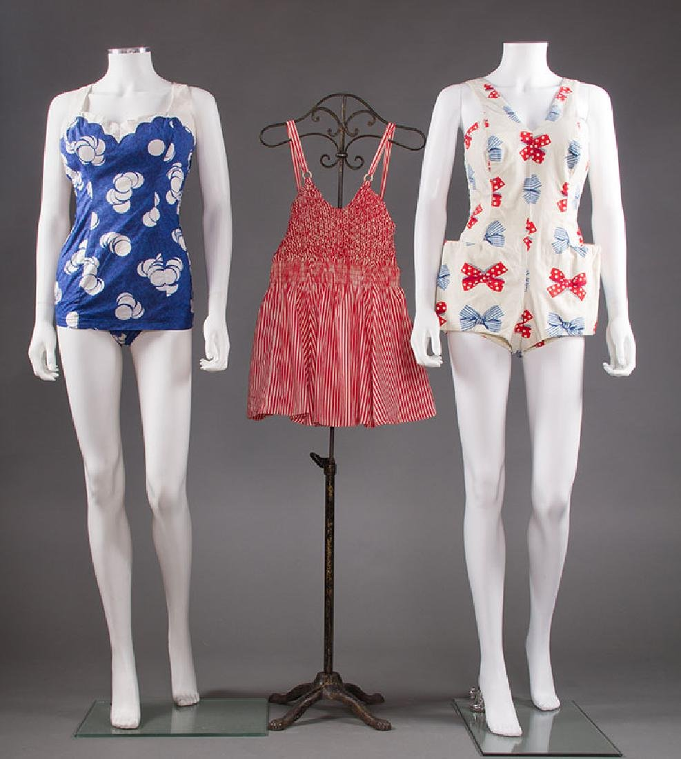 3 LADIES' PRINTED COTTON SWIM SUITS, 1950s