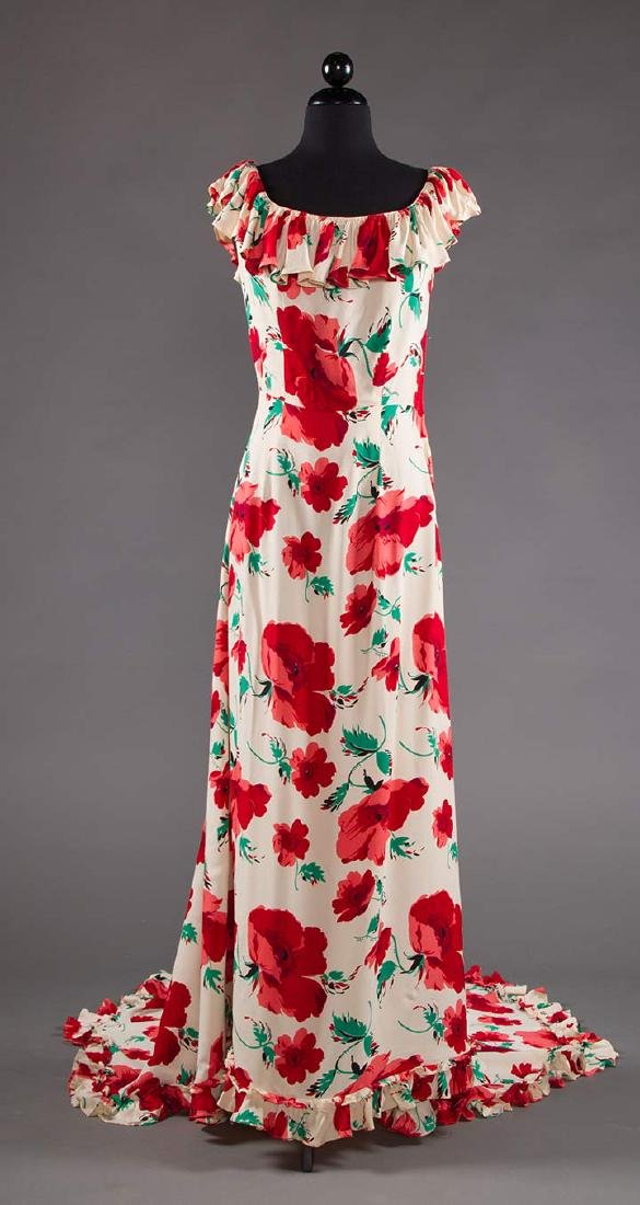 TRAINED SUMMER EVENING DRESS, EARLY 1940s