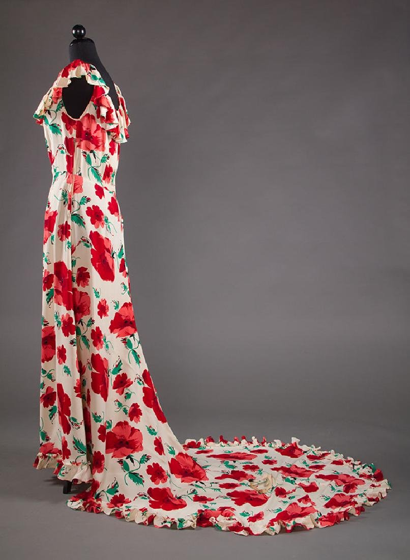 TRAINED SUMMER EVENING DRESS, EARLY 1940s - 3