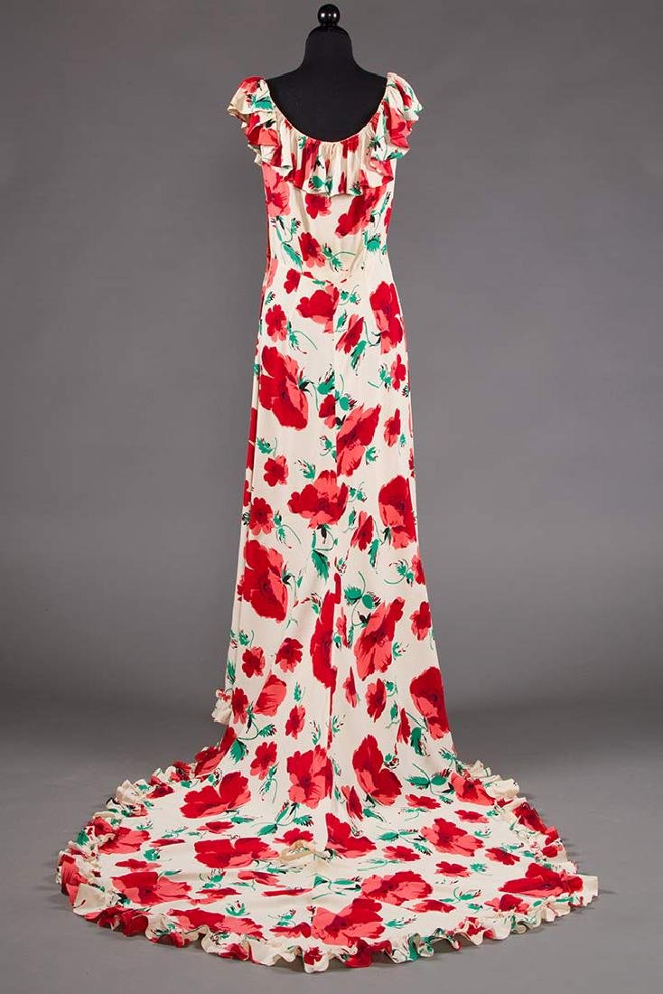 TRAINED SUMMER EVENING DRESS, EARLY 1940s - 4