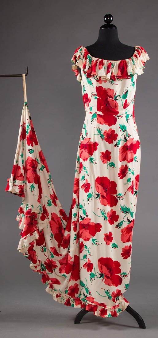 TRAINED SUMMER EVENING DRESS, EARLY 1940s - 5