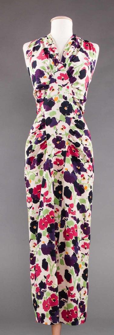 PRINTED SILK AFTERNOON DRESS, c. 1940