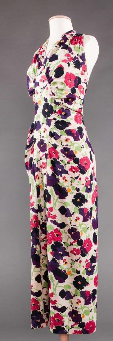 PRINTED SILK AFTERNOON DRESS, c. 1940 - 2