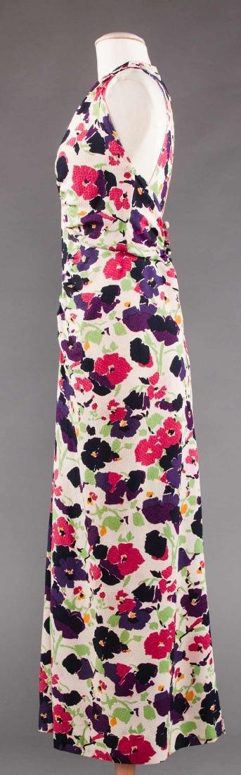 PRINTED SILK AFTERNOON DRESS, c. 1940 - 3
