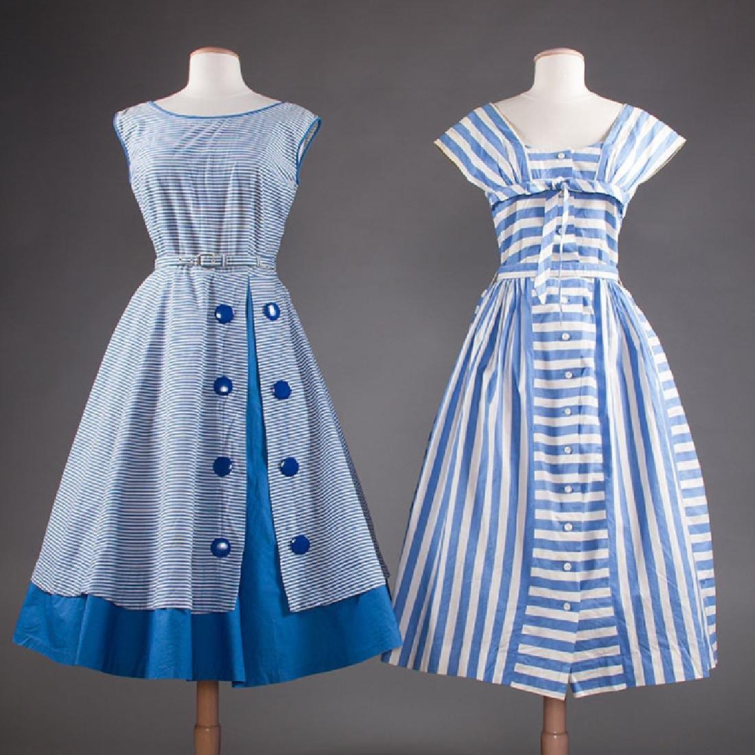 2 BLUE & WHITE COTTON DRESSES, 1950s