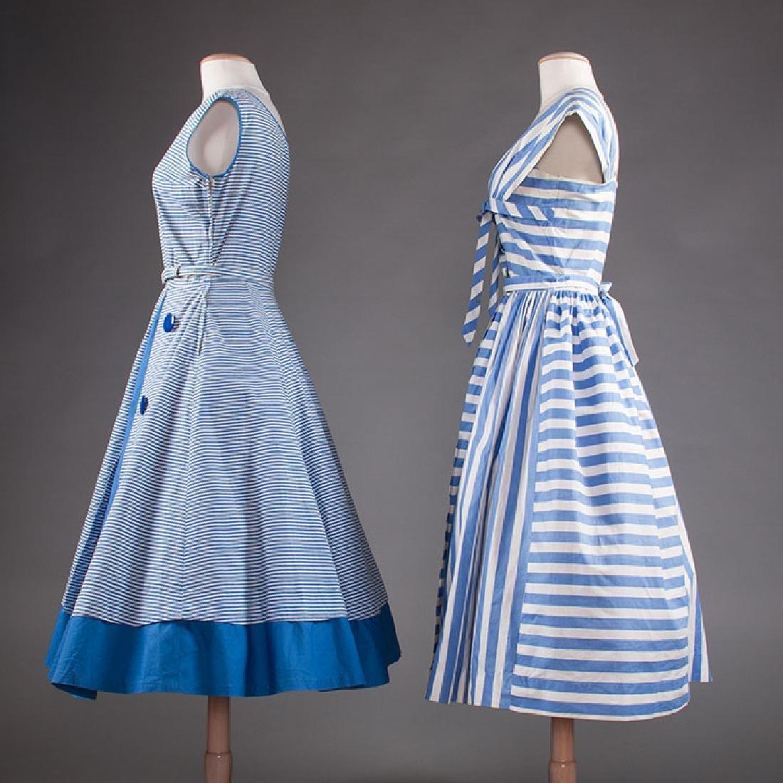 2 BLUE & WHITE COTTON DRESSES, 1950s - 2