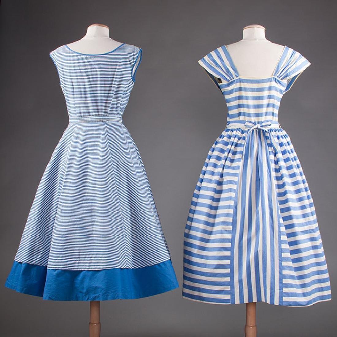 2 BLUE & WHITE COTTON DRESSES, 1950s - 3