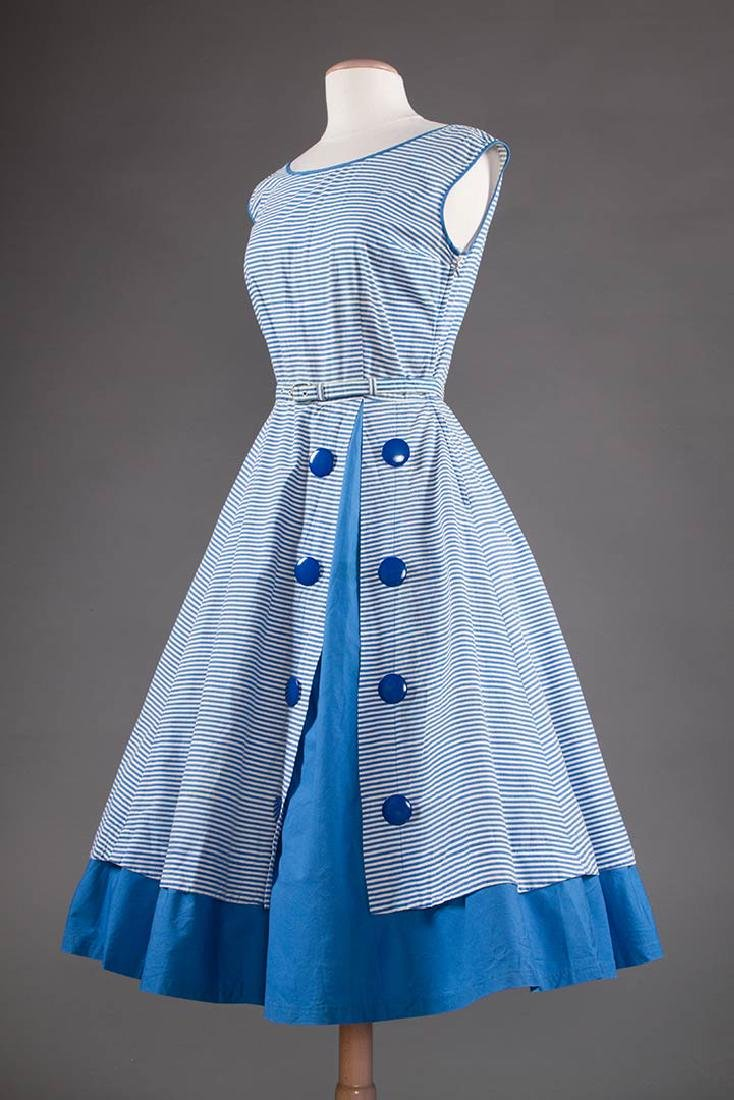 2 BLUE & WHITE COTTON DRESSES, 1950s - 4