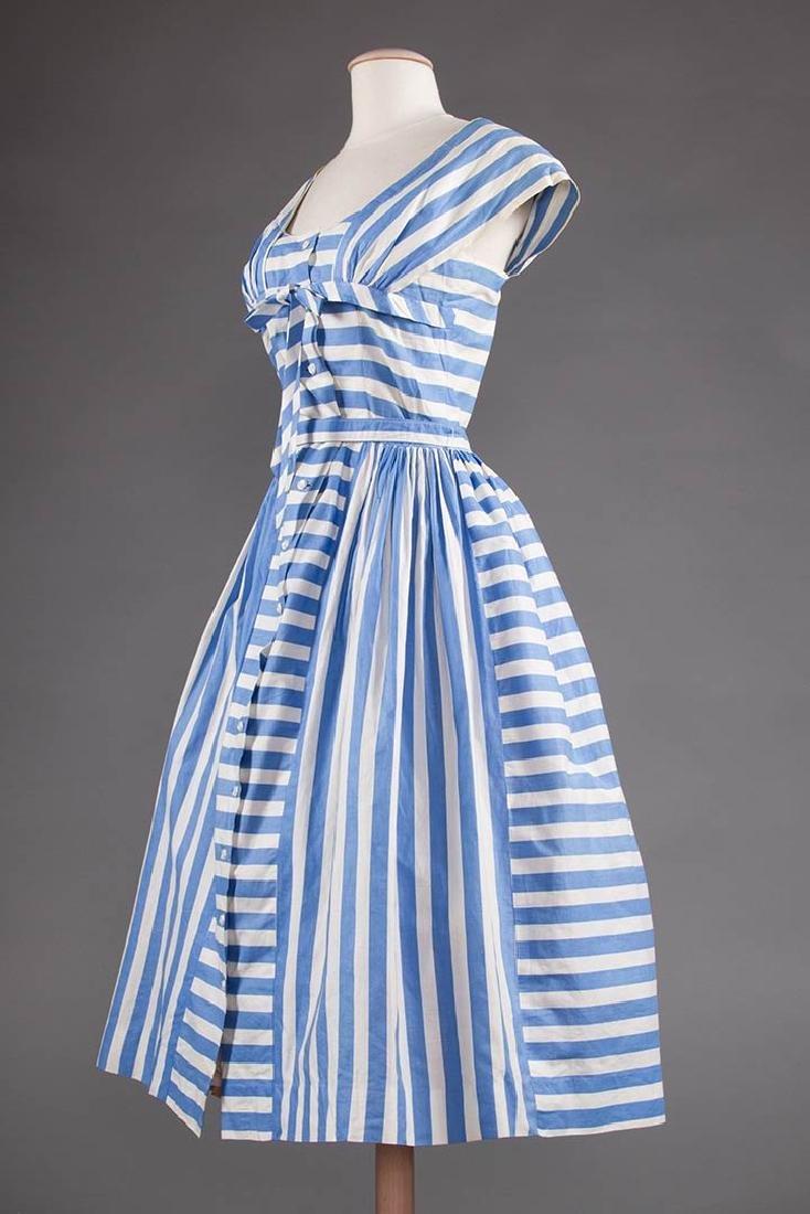 2 BLUE & WHITE COTTON DRESSES, 1950s - 5
