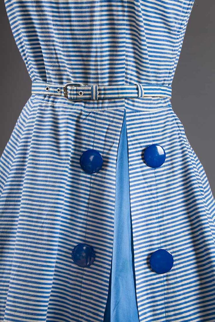 2 BLUE & WHITE COTTON DRESSES, 1950s - 6