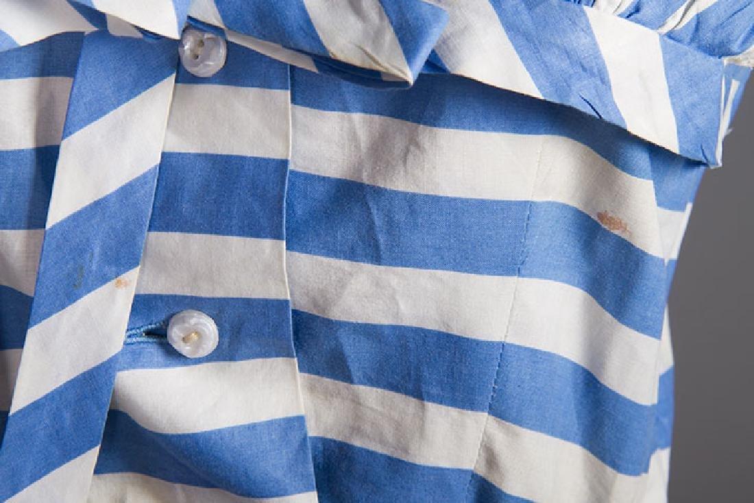 2 BLUE & WHITE COTTON DRESSES, 1950s - 8