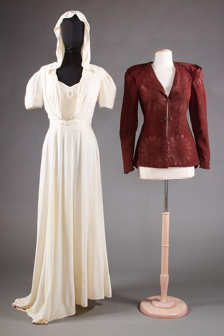 1 WHITE JERSEY GOWN & 1 MAROON JACKET, 1938-1942