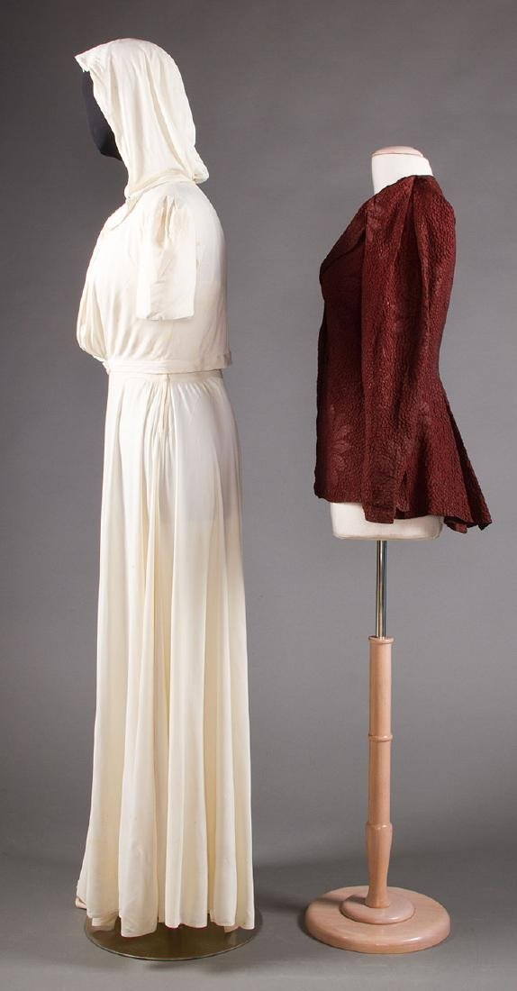 1 WHITE JERSEY GOWN & 1 MAROON JACKET, 1938-1942 - 2