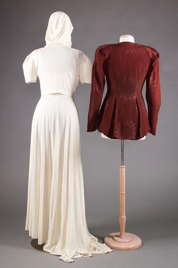 1 WHITE JERSEY GOWN & 1 MAROON JACKET, 1938-1942 - 3