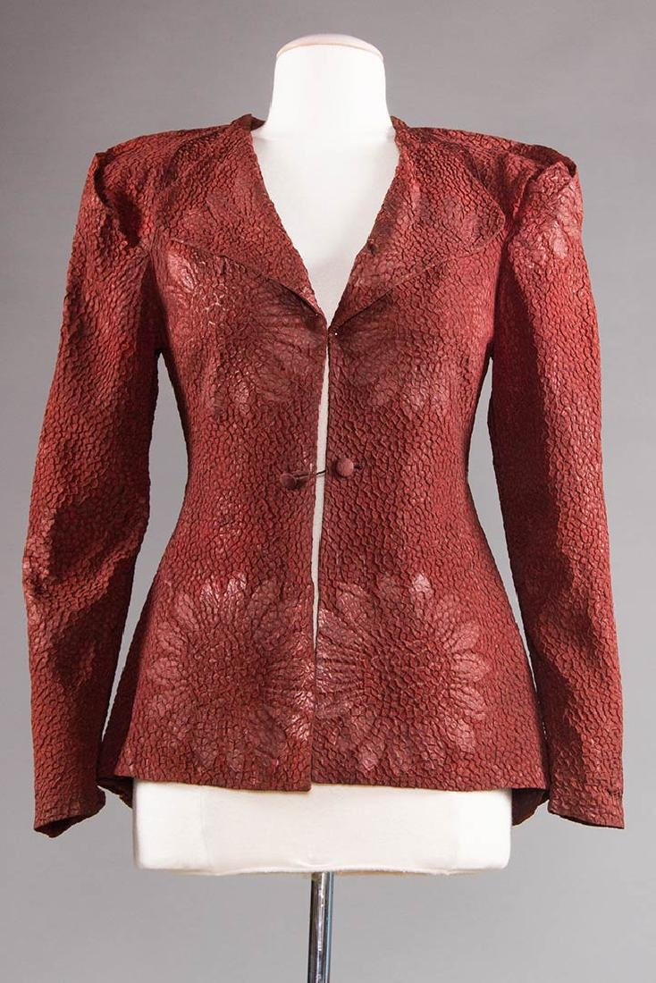 1 WHITE JERSEY GOWN & 1 MAROON JACKET, 1938-1942 - 4