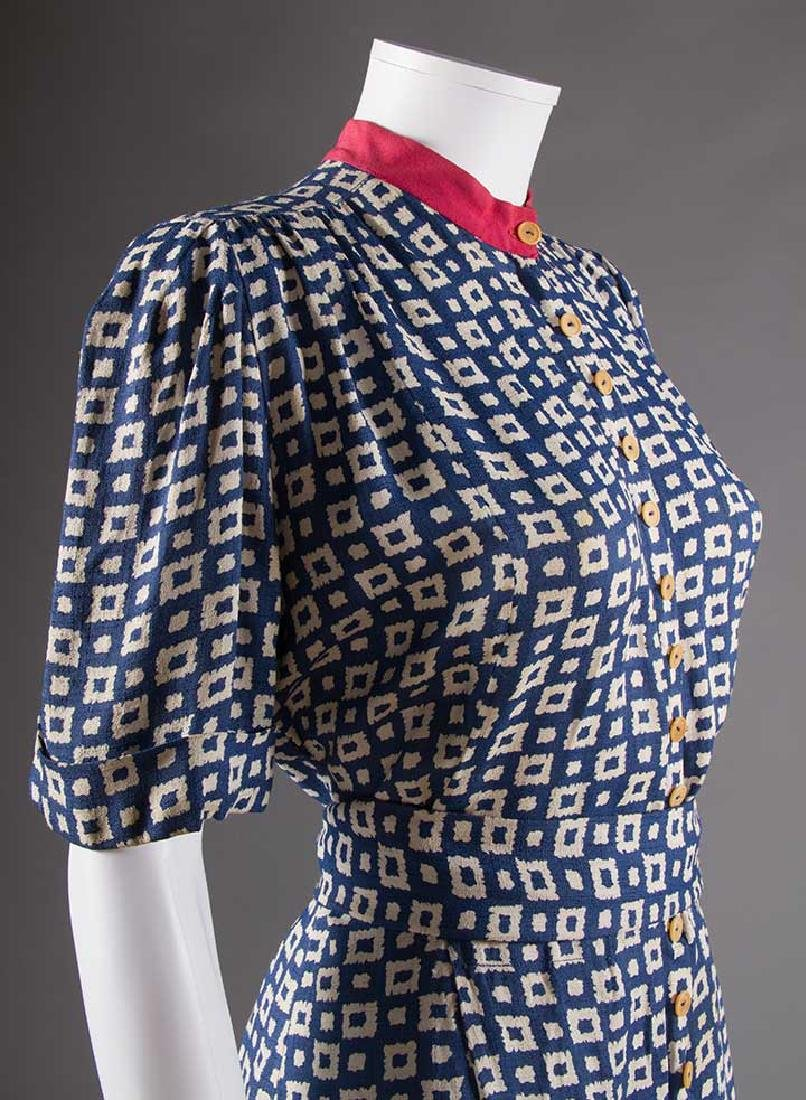 LADY'S PRINTED SUMMER TUNIC & PANT SET, EARLY 1940s - 6