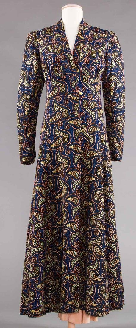EMBROIDERED LONG COAT, LATE 1930s