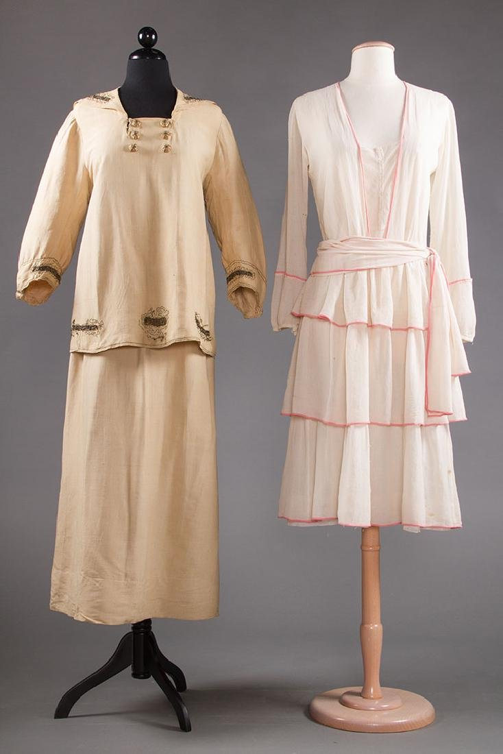 2 SUMMER DAY DRESSES, 1916-1920