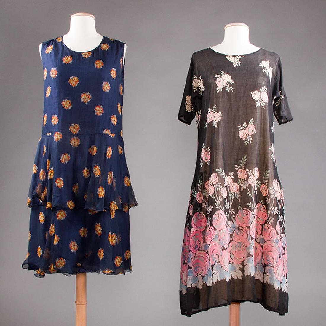 2 PRINTED DRESSES: 1 DAY & 1 PARTY, 1920s