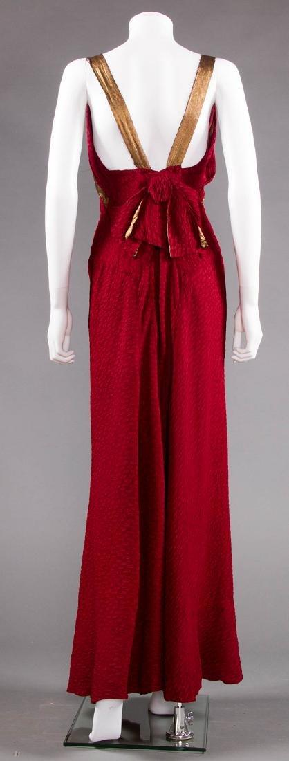 BURGUNDY BIAS-CUT GOWN, 1930s - 5