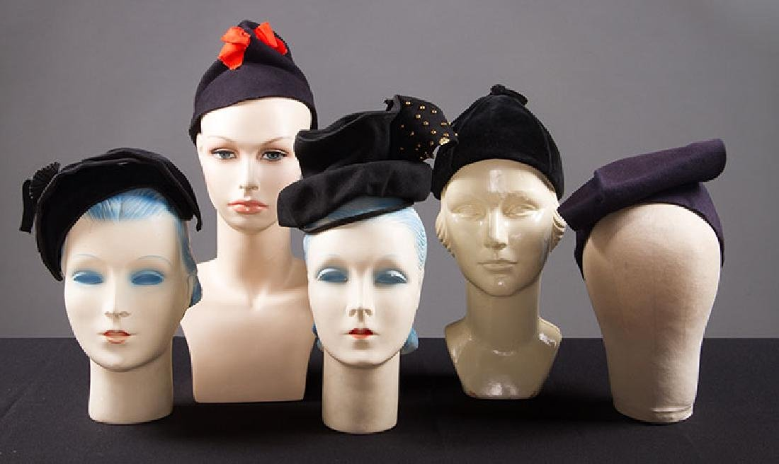 5 LADIES' BLACK HATS, LATE 1930s