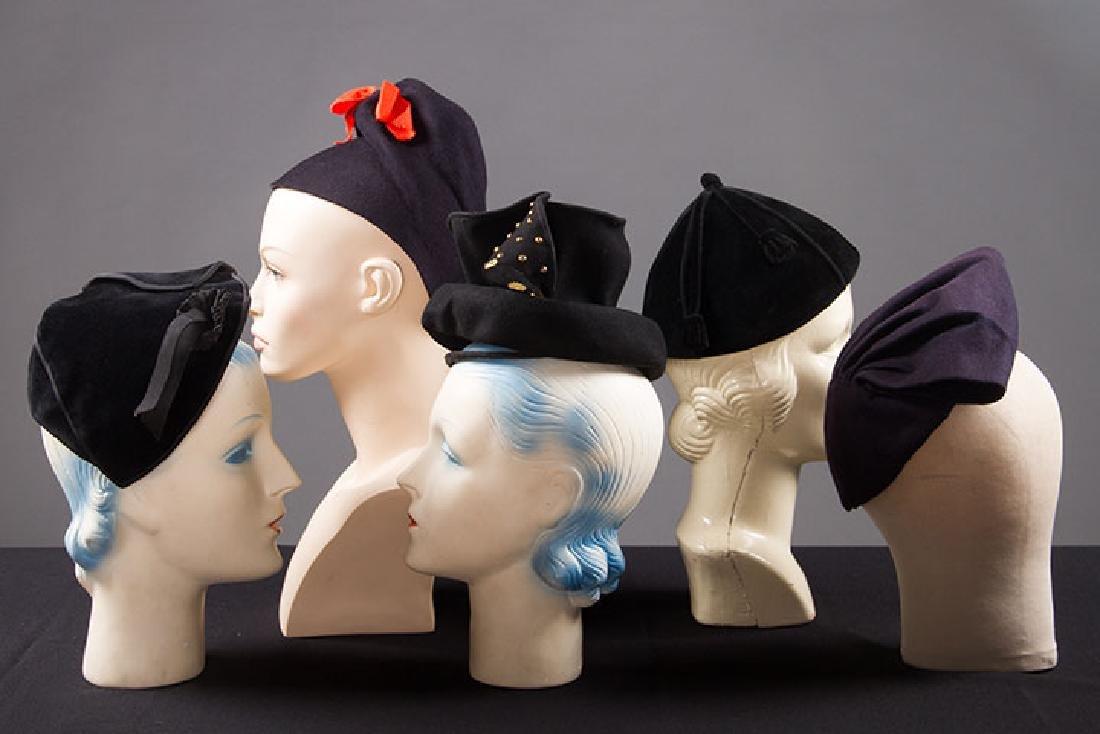5 LADIES' BLACK HATS, LATE 1930s - 2