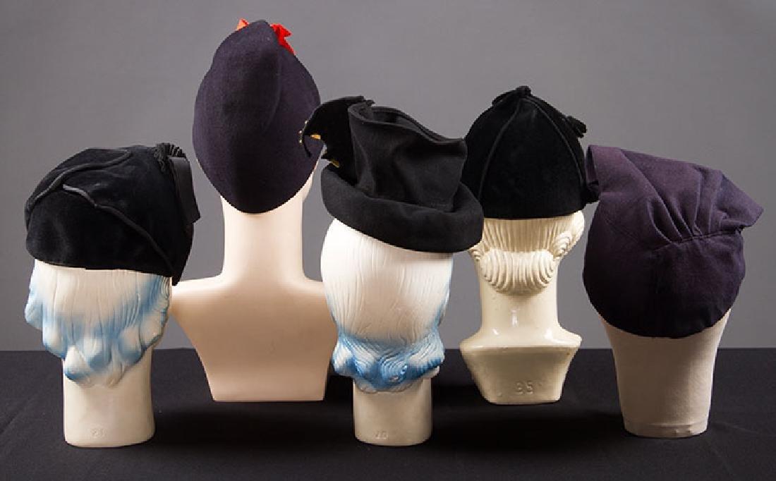 5 LADIES' BLACK HATS, LATE 1930s - 3