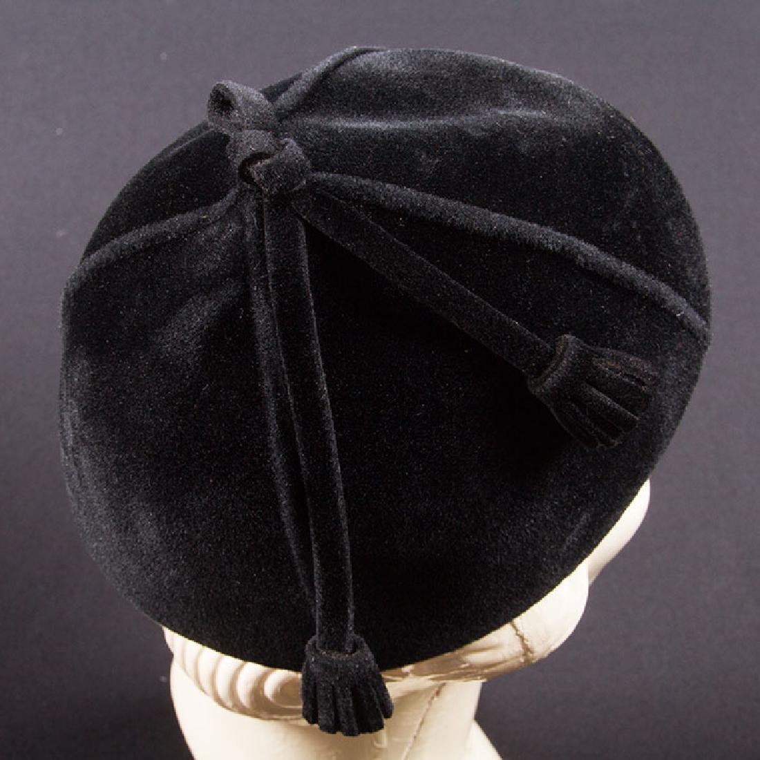 5 LADIES' BLACK HATS, LATE 1930s - 4
